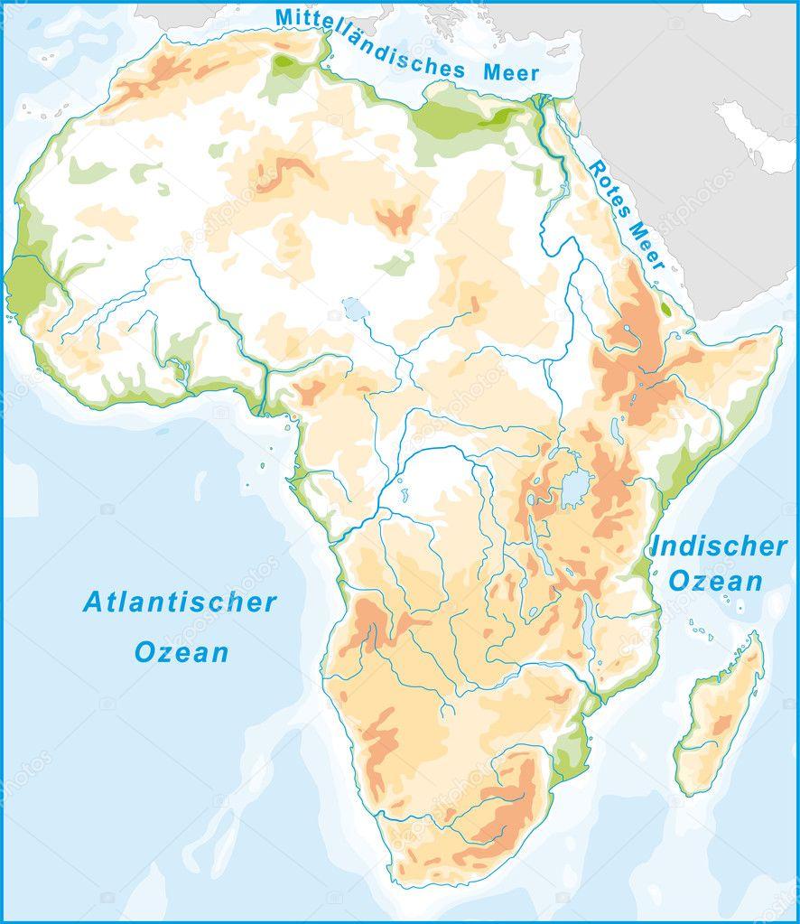 Stumme Karte Afrika.Afrikakarte Mit Höhenschichten Stockvektor Artalis 7702328