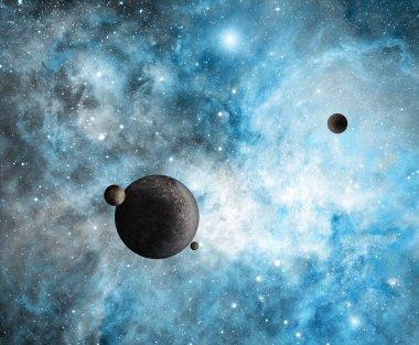 Planets with Blue Nebula