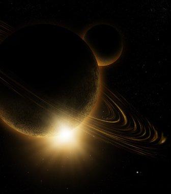 Dark Ringed Planet