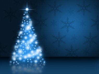 Bright blue christmas tree