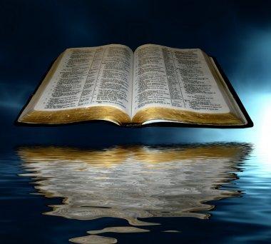 Open Bible over water