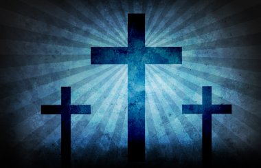 Three crosses on blue grunge with light beams