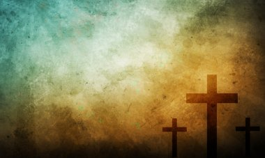 Three Crosses on Vintage Background