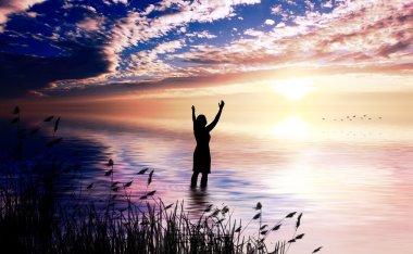 Woman Praising at dawn