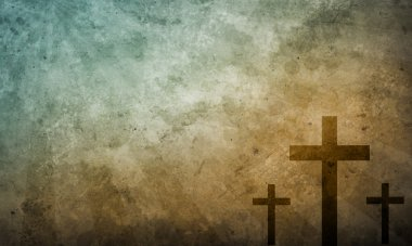 Three crosses on Grunge Background