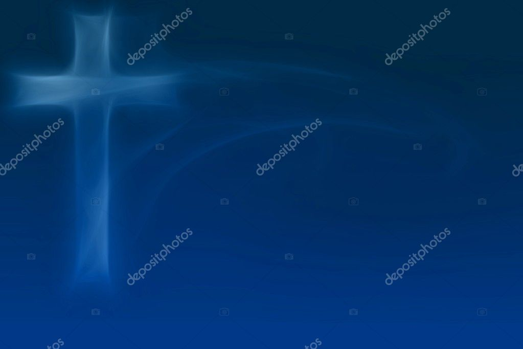 Glowing Cross on blue background