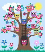 Fotografia un albero pieno di gufi