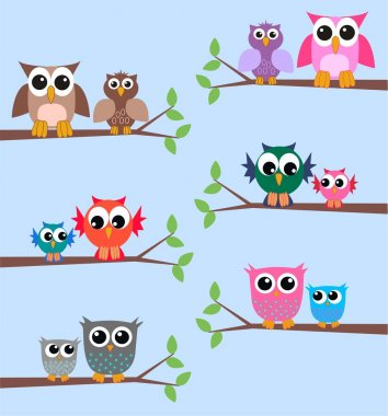 Colorful owls branch