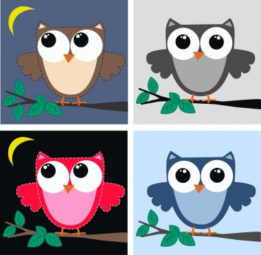 Four different owls stock vector