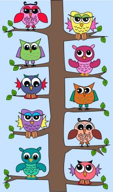 Lot of owls sitting in a tree
