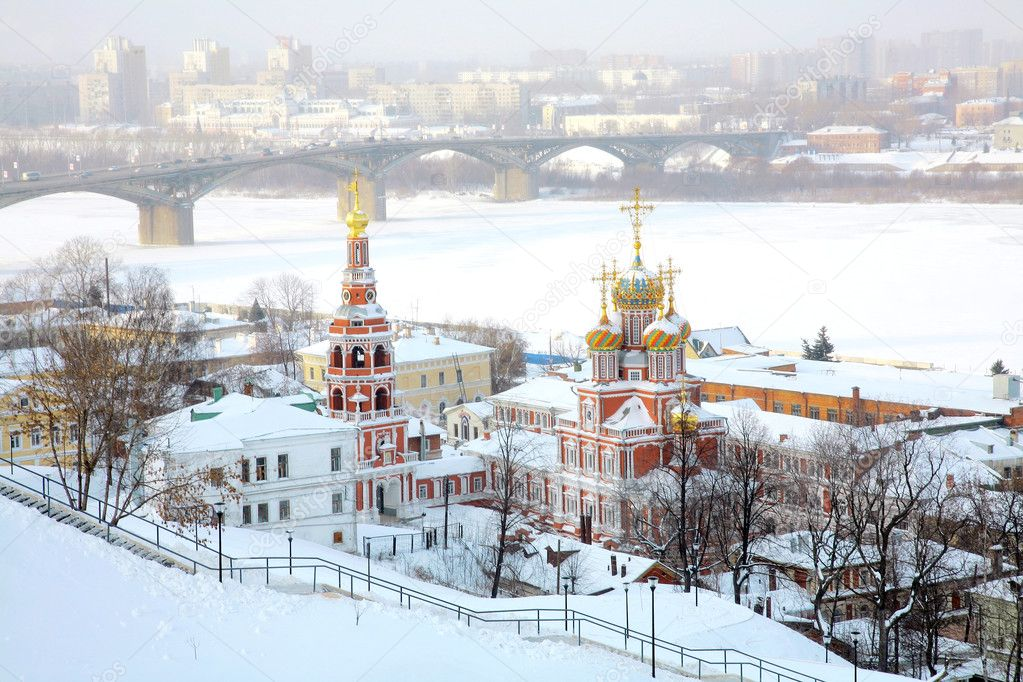 Stroganov Church on city background. Nizhny Novgorod, Russia.