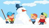Fotografia bambini, costruire un pupazzo di neve