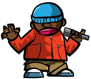 Cartoon hip hop man with microphone.
