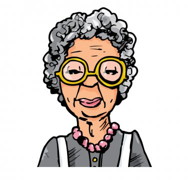 Cartoon of an old lady with glasses