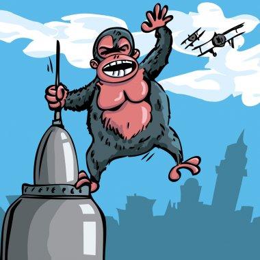 Cartoon King Kong hanging on a skyscraper