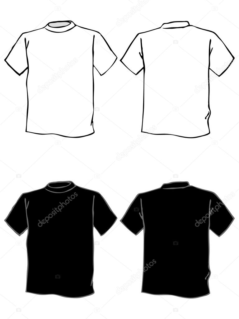T shirt black and white clipart - T Shirt Template In Black And White Stock Vector 7781321