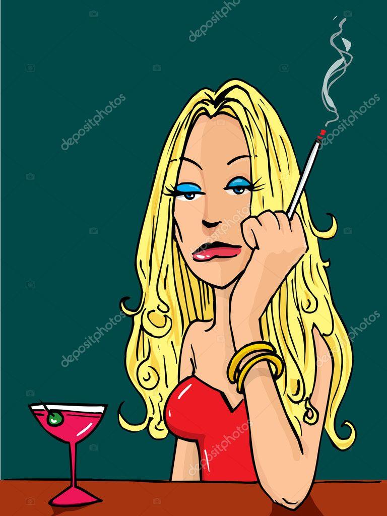 sexy kreslený kouření