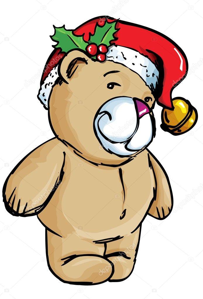 Dessin anim ours avec bonnet de noel image vectorielle - Dessin de bonnet ...