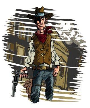 Cowboy gunslinger draws his six shooter