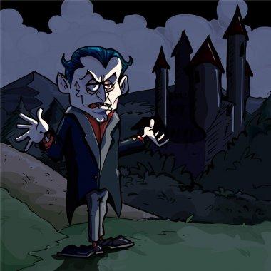 Cartoon illustration of Dracula and castle