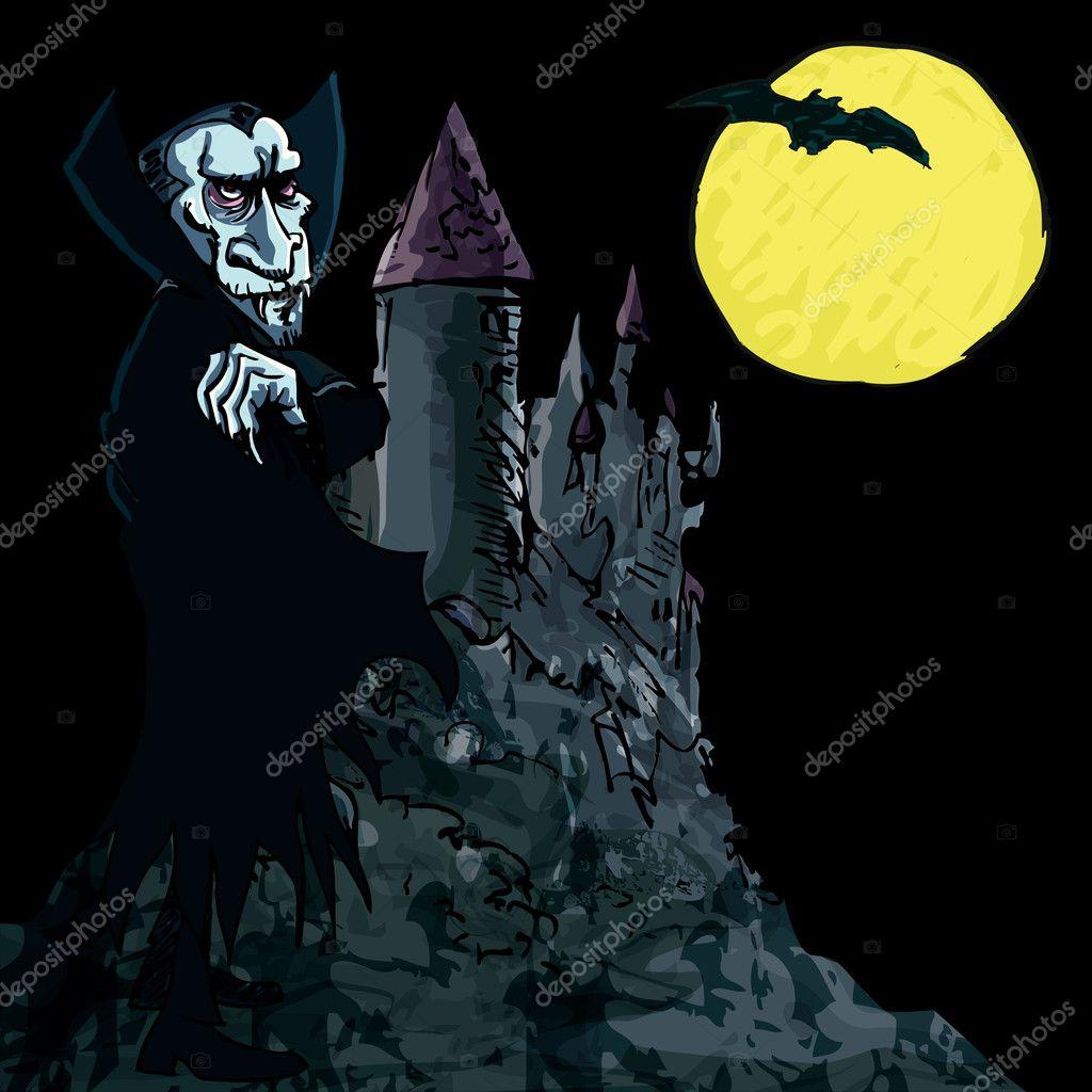 Vampiro di cartone animato con un castello sullo sfondo
