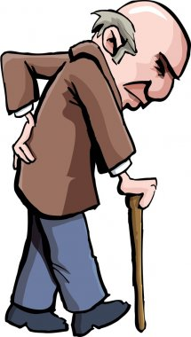Cartoon of old man with a walking stick