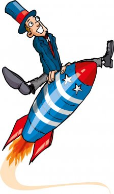 Cartoon man on a flying rocket