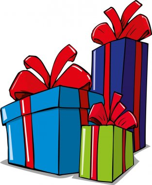 Cartoon illustration of christmas gifts