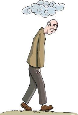 Cartoon o man sunk in depresion
