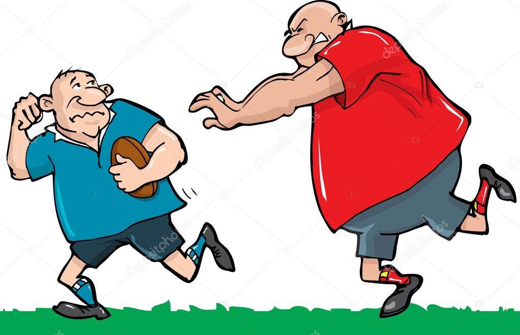 Dessin anim de deux joueurs de rugby image vectorielle antonbrand 7902743 - Dessin de joueur de rugby ...