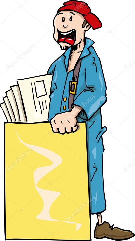 cartoon paperboy with blank poster board stock vector antonbrand