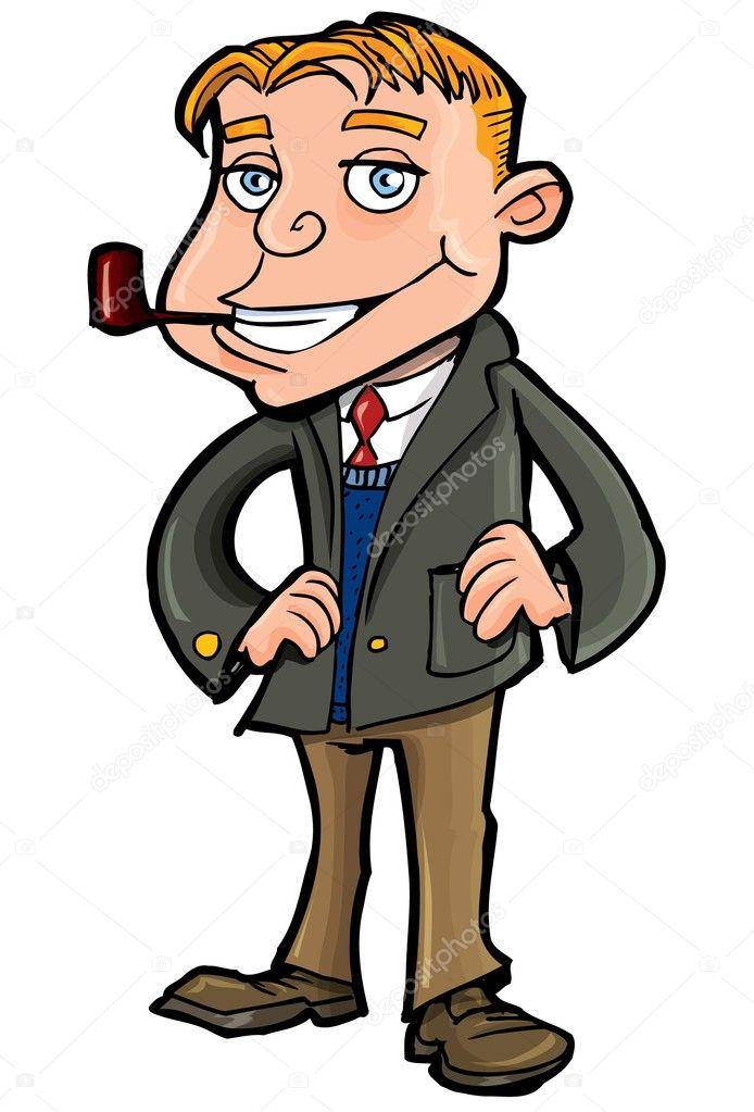 Мультфильм хорошо делать мужчина с трубкой — Векторное