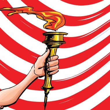 Cartoon of a olympic torch held high. Red stripes behind clip art vector