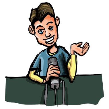 Cartoon of young radio DJ