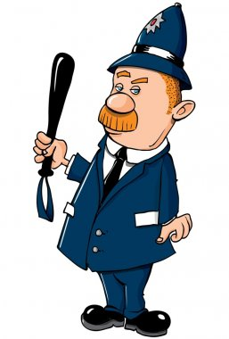 Cartoon Bobby on the beat with a truncheon