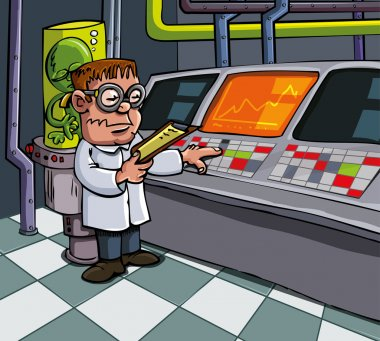 Cartoon scientist in his laboratory