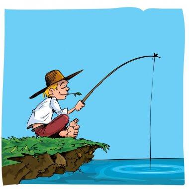 Cartoon of a boy fishing