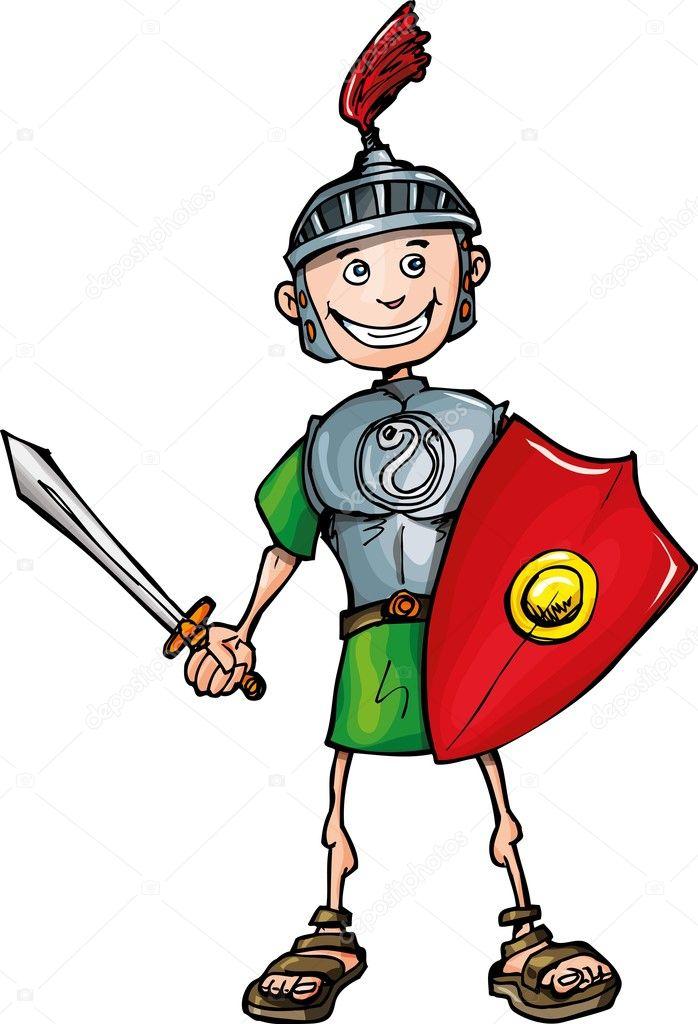 Legionario romano di cartone animato con spada e scudo