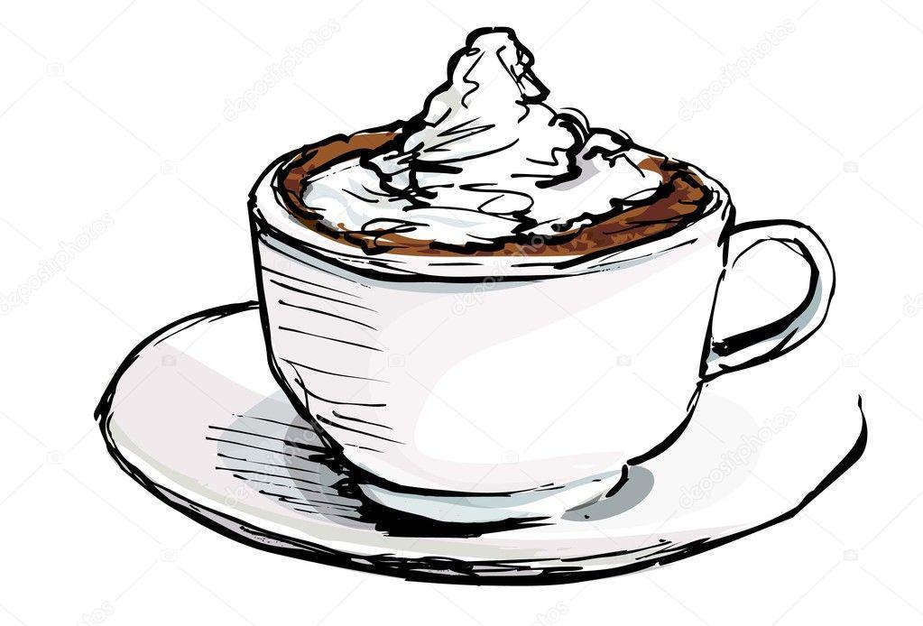 desenho de xícara de café com creme vetor de stock antonbrand