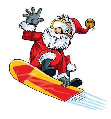 Cartoon Santa doing a jump on a snowboard