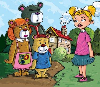 Cartoon of Goldilockes and the three bears