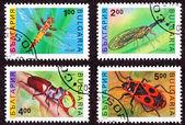 érvénytelenített bolgár postai bélyegek, szitakötő rovarok, tiszavirág, st