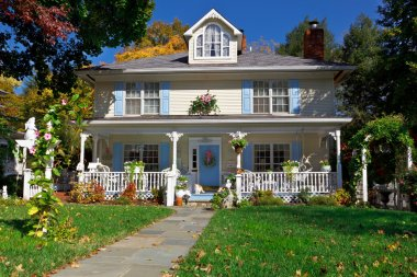Single Family House Pastel Prairie Style Autumn