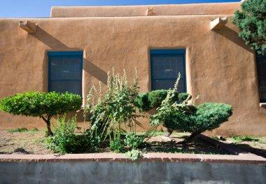 Exterior View of Adobe House Wall Santa Fe, New Mexico