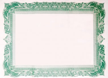 Old Vintage Stock Certificate Empty Border Frame