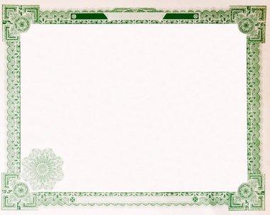 Old Vintage Stock Certificate Empty Border 1914