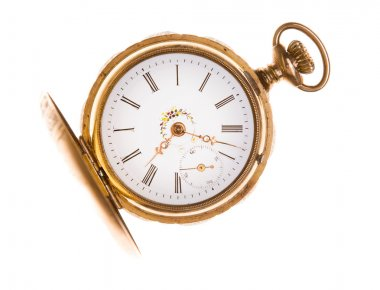 Old Fashioned Brass Pocket Watch Isolated White