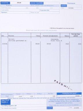 Paper Medical Bill Form Stamped