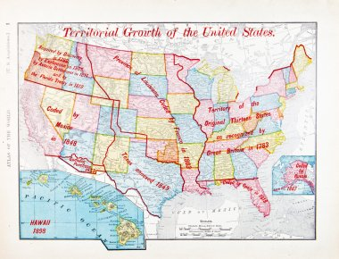 Antique Color Map of United States Expansion Growth