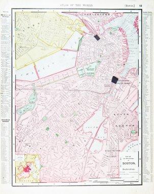 Detailed Antique Street Map Boston, Massachusetts